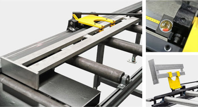 XA measuring stop with simple adjusting and uncomplicated control. With a standard length 2, 3, 4, 5, and 6 m, it is suitable for every saw. The guide-rail is fitted with a measuring tape along its whole length. The stop arm may be tilted to enable the material to pass through.