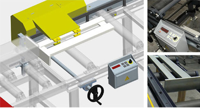 Digital material stop with hand wheel and pneumatic brake XDA - user-friendly material stop with digital display of set length. The desired length is set with the handwheel. The stop is equipped with a pneumatic brake and pneumatic jaw bounce. The stop jaw can be lifted pneumatically for smooth material flow. In combination with the XP driven track, the stop has to be fitted with an EBS restraining device - when the material moves onto the stop jaw, the EBS system reduces the material feed speed and begins to slowly travel to the desired stop position.